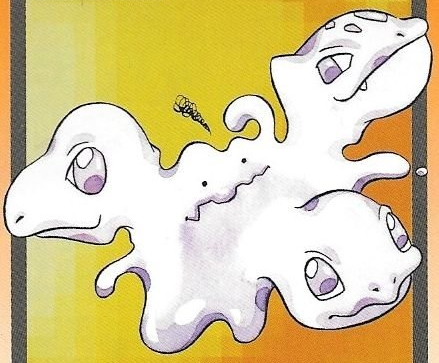 Ditto Carddass Illustration of a confused Ditto trying to simultaneously transform into Bulbasaur, Squirtle, and Charmander.