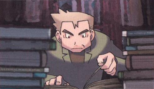 Professor Oak surrounded by books.