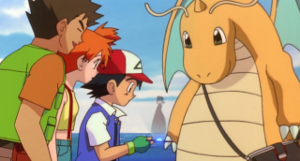 Dragonite watching the hologram from the letter along with Ash, Misty, and Brock