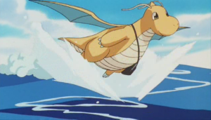 Dragonite flying over the surface of the water