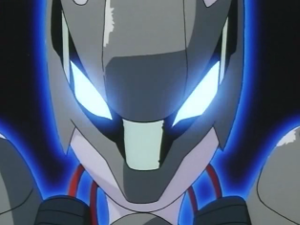 Mewtwo's mask with glowing eyes
