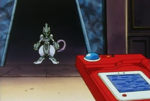 A PokéDex attempting to get a reading on Mewtwo, but the screen is scrambled.