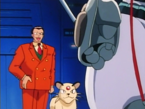 Giovanni gloating to Mewtwo