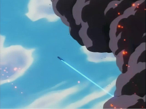 Mewtwo flying from the smoke