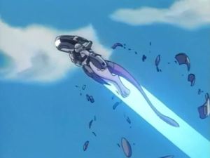 Mewtwo flying away, shedding his armor